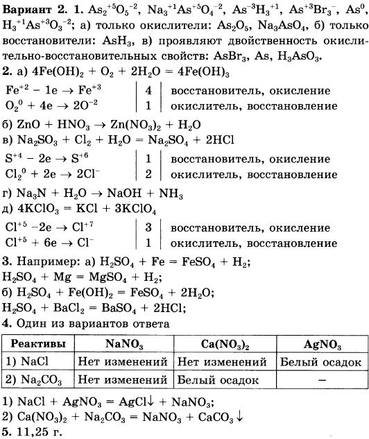Контрольная работа по химии степень окисления 4411